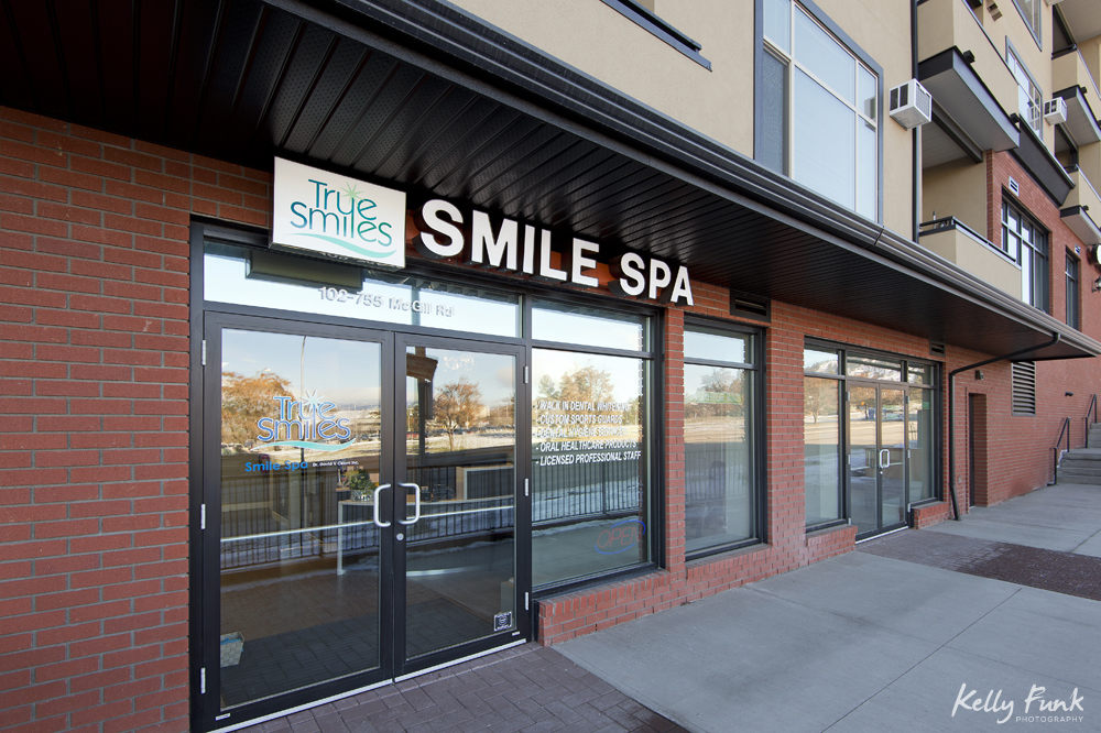 An urban architecture shot of Smile Spa, an affiliate of Sagehills Dental Clinic, located in Kamloops, British Columbia, Thompson Okanagan region, Canada, during a commercial photo shoot
