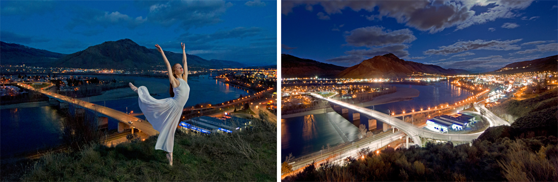 Ballet dancer strikes a pose above Kamloops and the city of Kamloops at dusk with the north and south Thompson rivers, Thompson Okanagan region, British Columbia, Canada