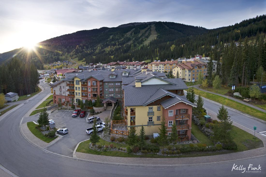 The village of Sun Peaks Resort at dusk and a beautiful urban landscape, Thompson Okanagan region, British Columbia, Canada
