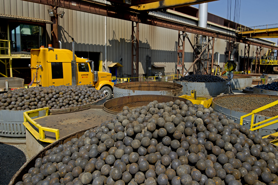 An industrial shoot for Molycop, Kamloops involving the production of steel balls for the world-wide mining industry. Thompson Okanagan region, British Columbia, Canada