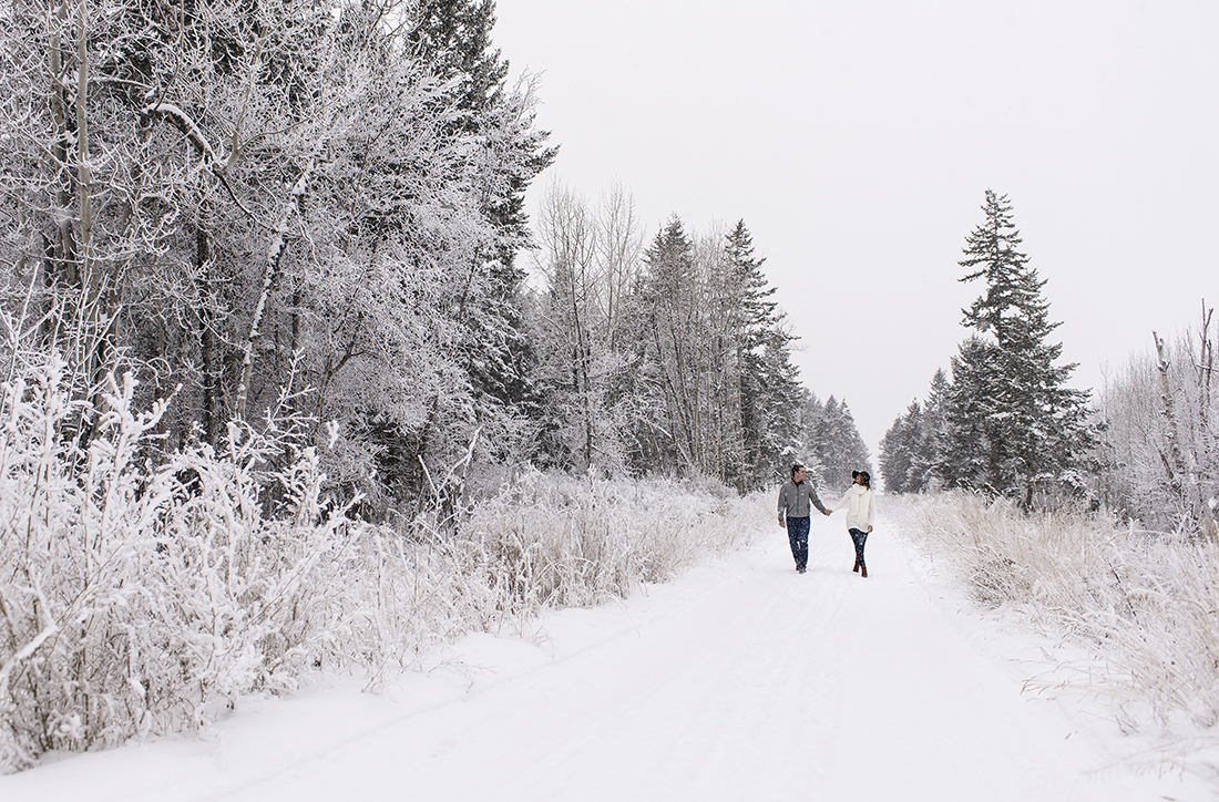 A live proposal shoot in the winter with a young, beautiful couple, Kamloops, BC, Canada