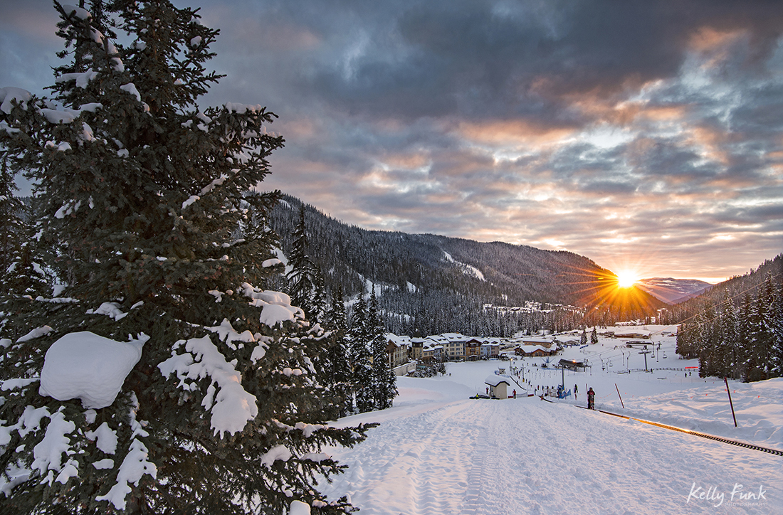 Beautiful landscape sunset over the village of Sun Peaks resort near Kamloops, Thompson Okanagan region, British Columbia, Canada