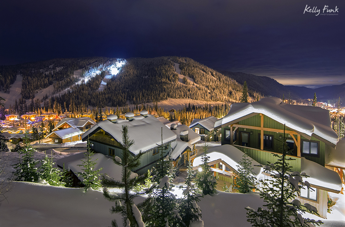 The village and architecture of Sun Peaks at night, near Kamloops, Thompson Okanagan region, British Columbia, Canada