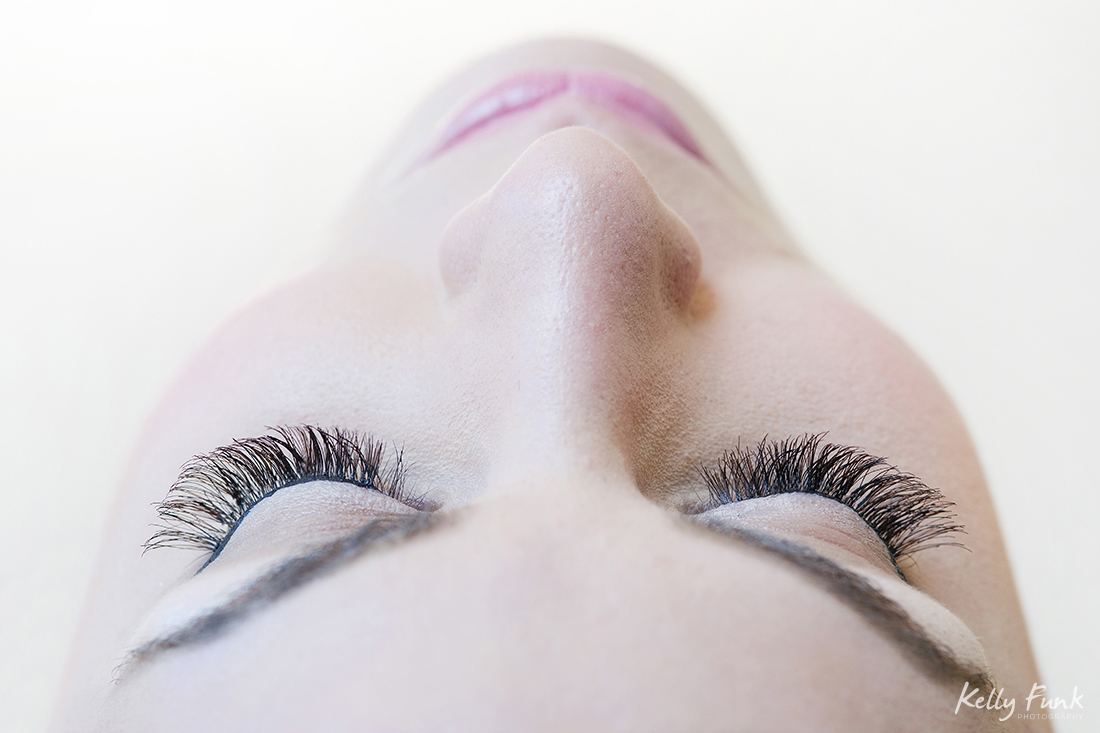 Portrait of a face showing eyelashes, Kamloops, BC, Canada