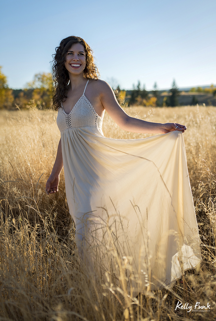 A stylized portrait shoot with a young woman in the grasslands near Kamloops, British Columbia, Canada