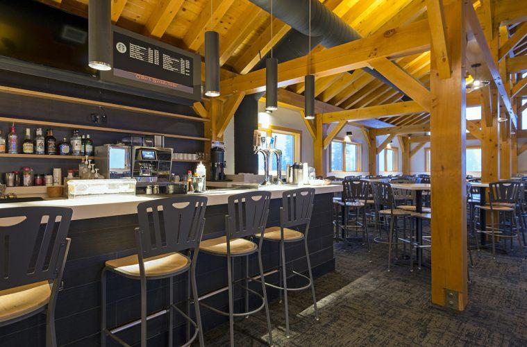 New mid mountain lodge interior structure and design, Sun Peaks Resort, Sun Peaks, BC., Thompson Okanagan region, Canada