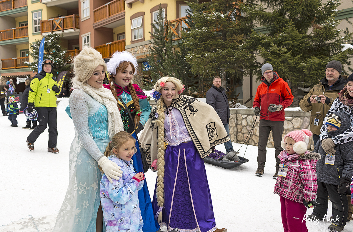 holiday kick off weekend and the cast from Frozen in the village, Sun Peaks Resort, near Kamloops, British Columbia, Thompson Okanagan region, Canada