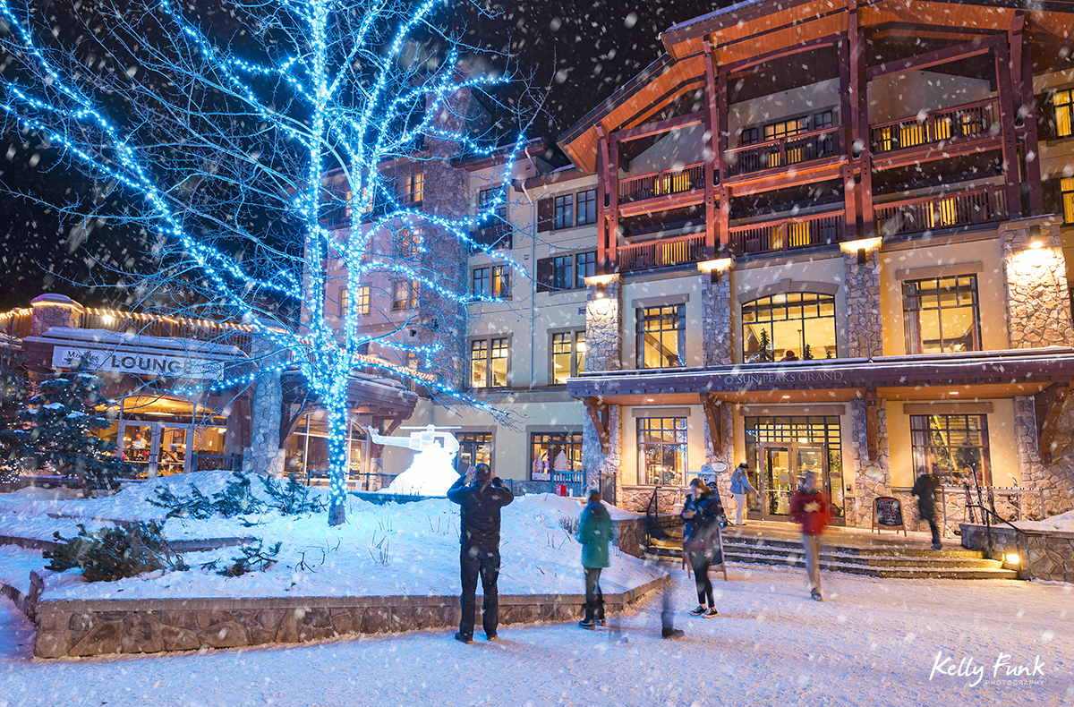 holiday kick off weekend with new lights at dusk, Sun Peaks Resort, near Kamloops, British Columbia, Thompson Okanagan region, Canada