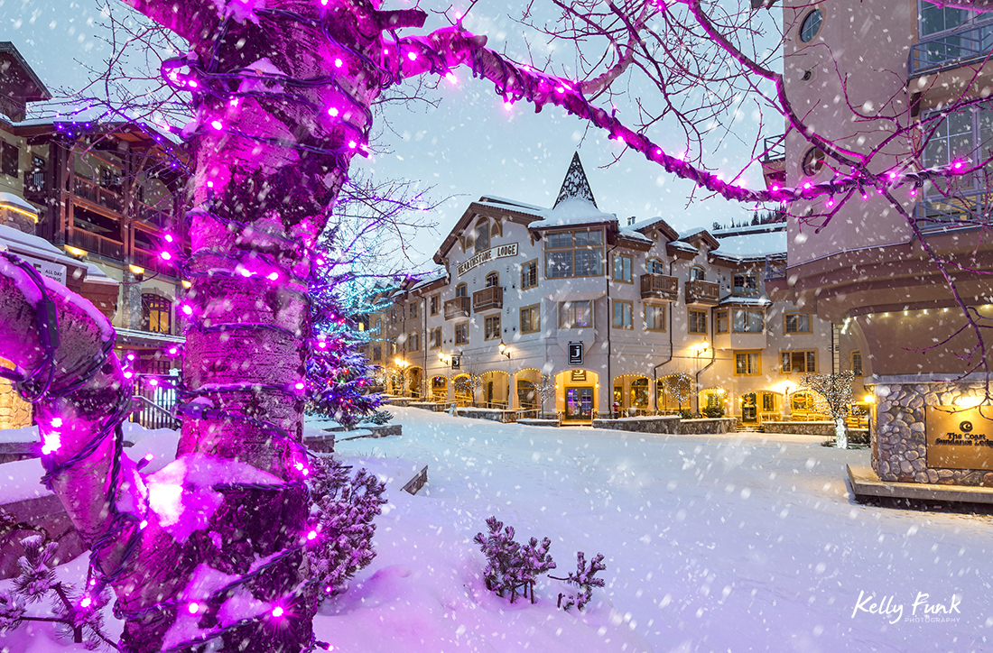 The village of Sun Peaks during a heavy snowfall, British Columbia, Thompson Okanagan region, Canada