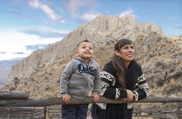 Portrait of a First Nations mother and her young son, Kamloops, Thompson Okanagan region, British Columbia, Canada