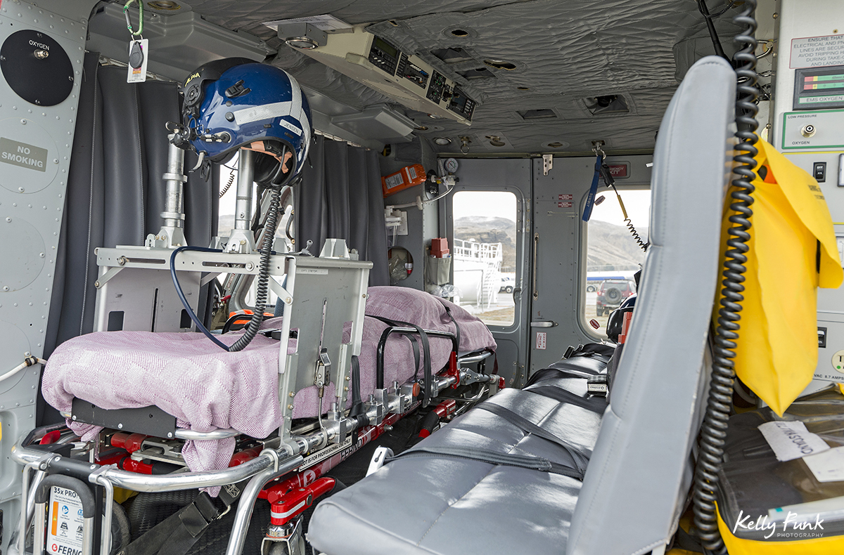 The interior of a BC ambulance helicopter during a commercial shoot in Kamloops, British Columbia, Canada