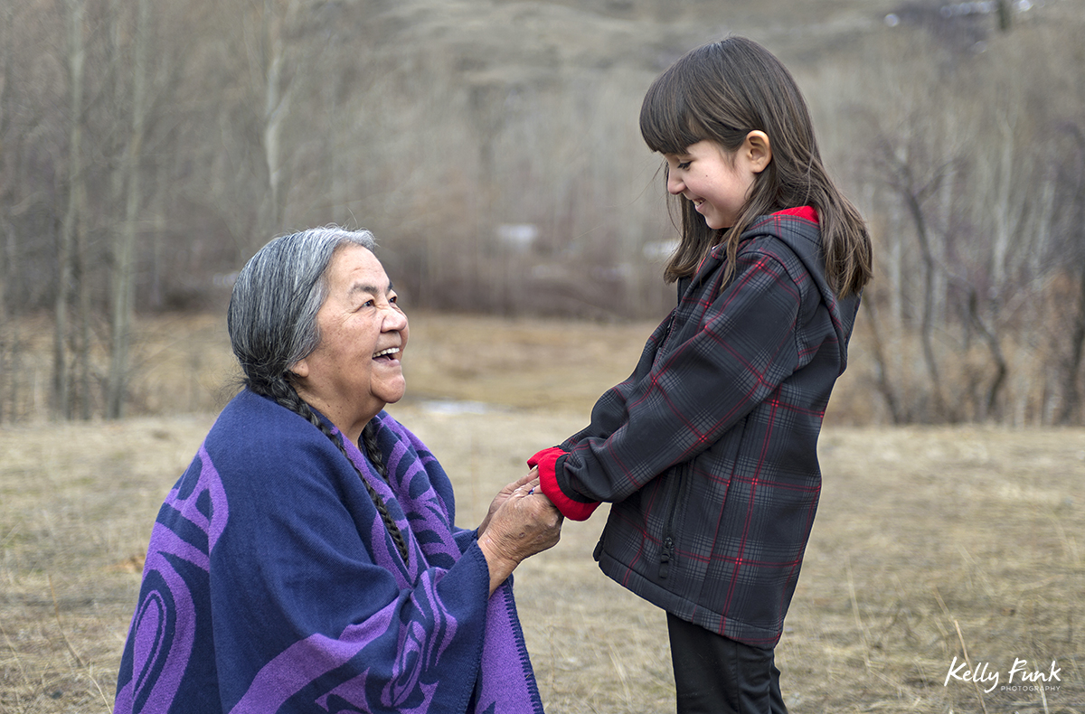 Portrait of an Elder and her granddaughter, near Cache Creek, British Columbia, Canada