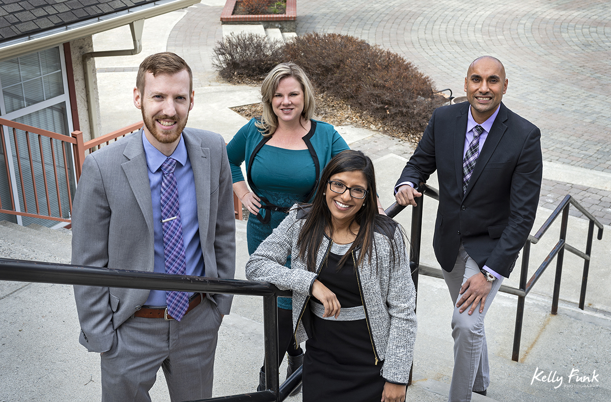 Partners and associates of Chahal and Priddle LLP during a commercial branding shoot in Kamloops, British Columbia, Canada