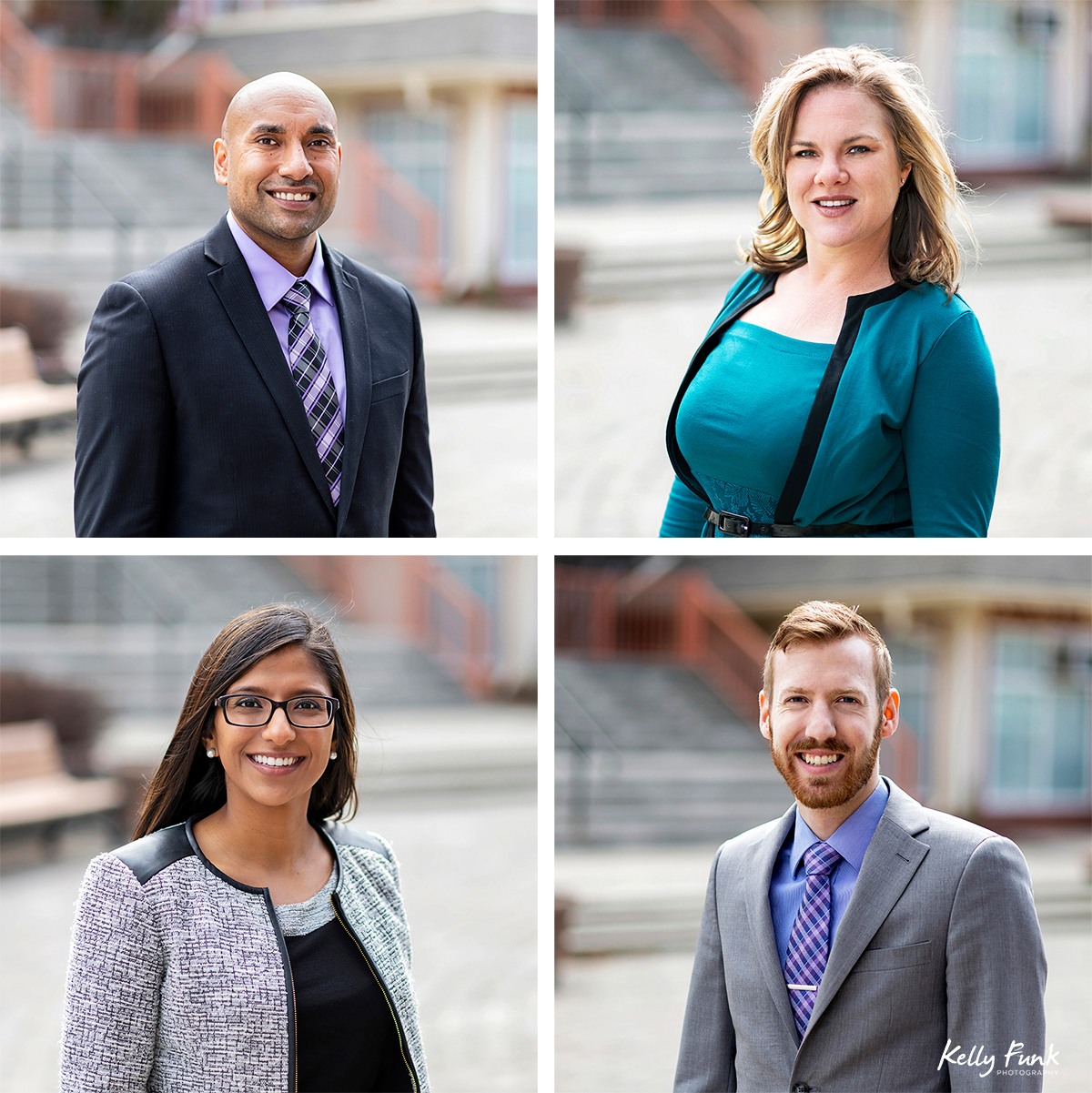 Partners and associates of Chahal and Priddle LLP pose for head shots during a commercial branding shoot in Kamloops, British Columbia, Canada