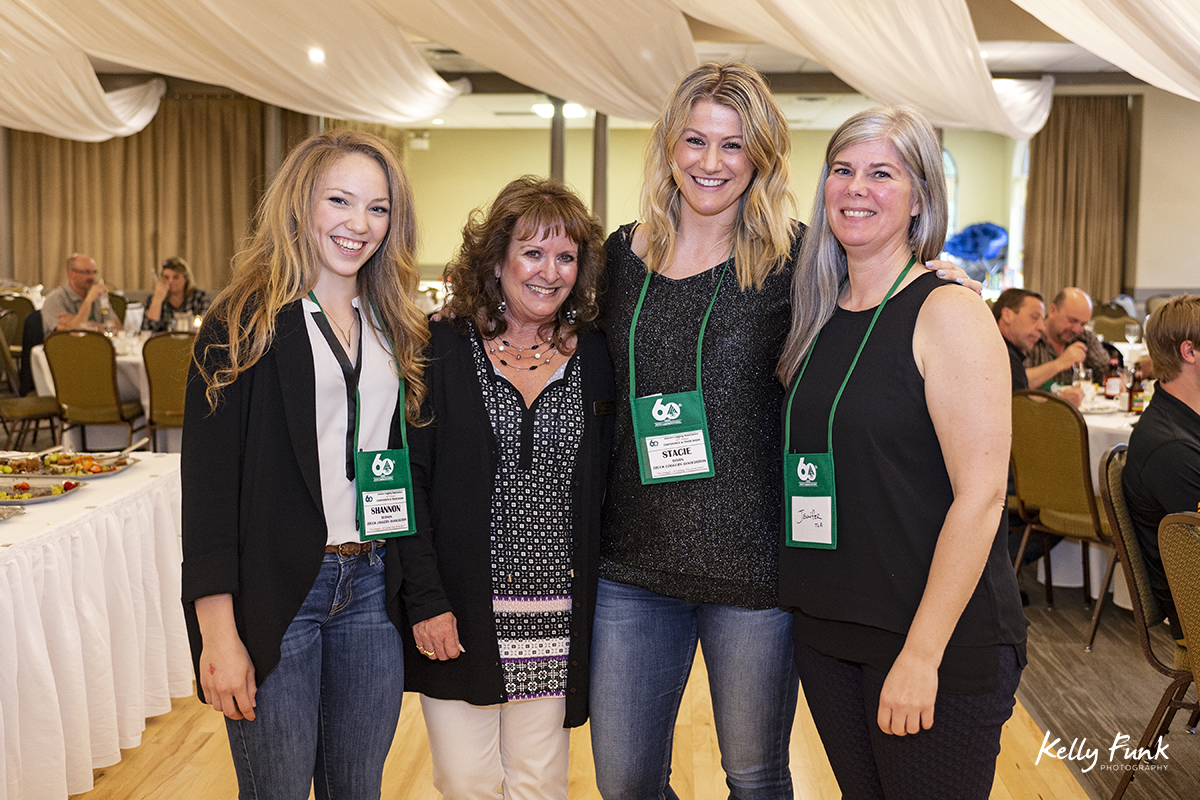 Groups pose at the Columbo Lodge Friday evening function at the 2018 BC Interior Logging Association convention, Kamloops, British Columbia, Canada