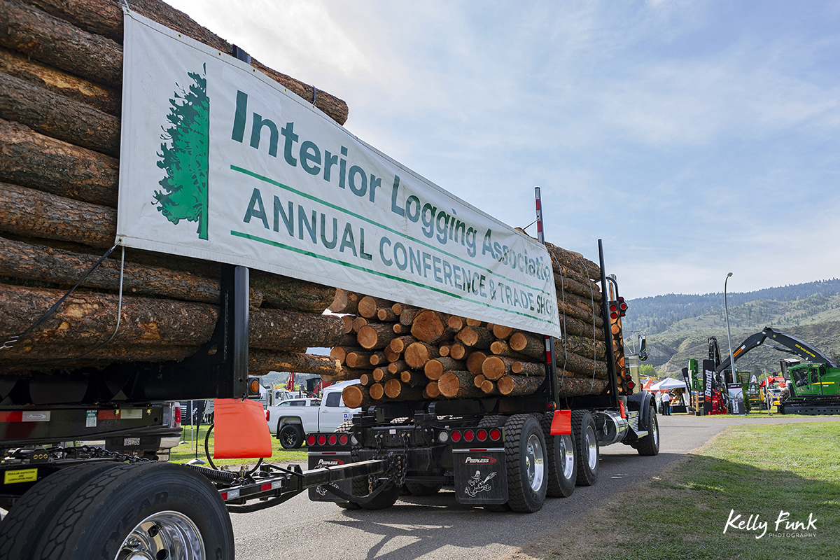 Heavy duty equipment on display at the 2018 BC Interior Logging Association convention, Kamloops, British Columbia, Canada