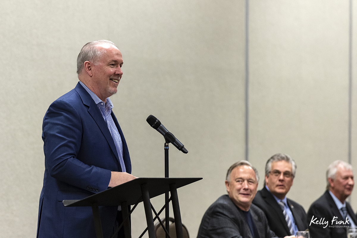 The Premier, John Horgan, giving a speech at the 2018 BC Interior Logging Association convention