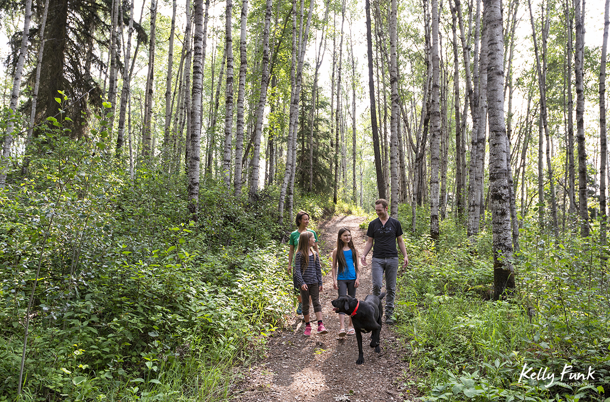 Hikers enjoy the forest near cranberry marsh in the morning, Valemount, British Columbia, Canada