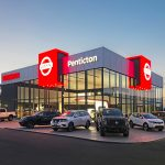 Penticton Nissan's exterior showcased during a commercial shoot for an Architectural firm in Kelowna, BC, Canada