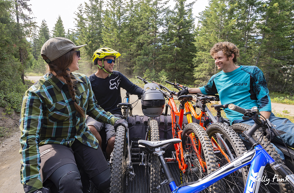 Riding up in the shuttle to get to the top of the bike park, Valemount, British Columbia, Canada