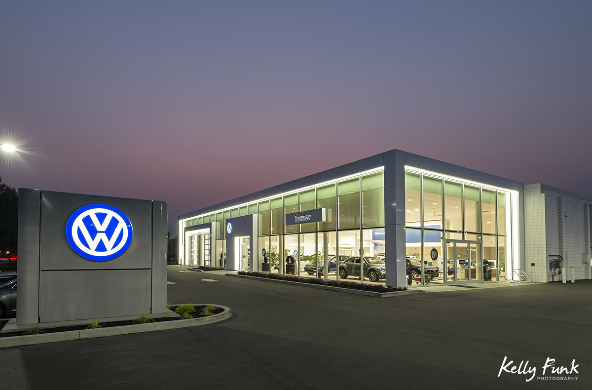 Architecture imagery for a firm in Kelowna, British Columbia, Canada of a vehicle dealership at dusk