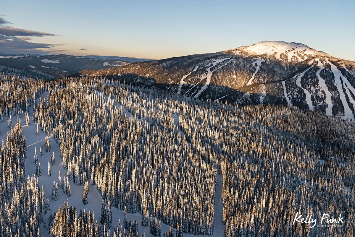 Aerial photograph in a helicopter of Mt. Morrissey and Tod Mountain at Sun Peaks Resort during a tourism marketing shoot, British Columbia, Thompson Okanagan region, Canada