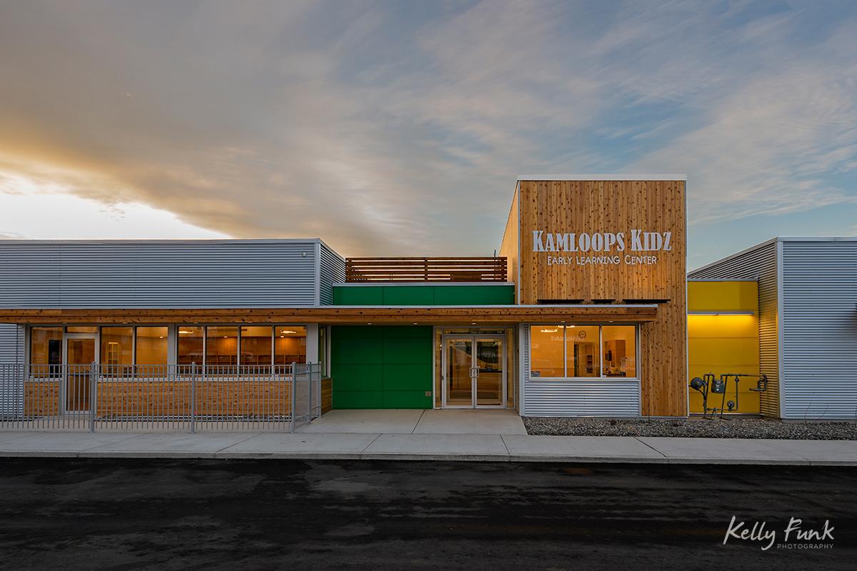 Exterior architecture taken at dusk by a Kelowna firm, taken in Kamloops, British Columbia, Thompson Okanagan region, Canada