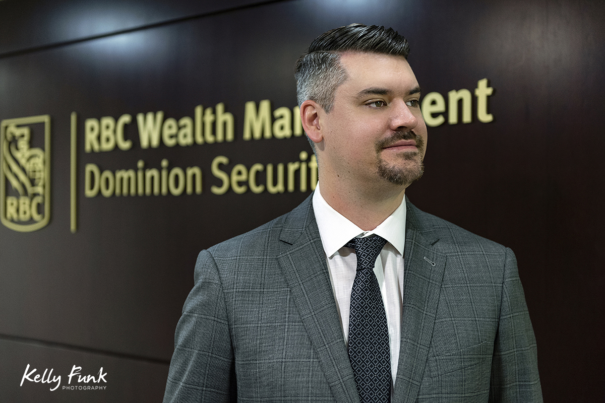 Portrait of a young man working for RBC in Kamloops, British Columbia, Canada