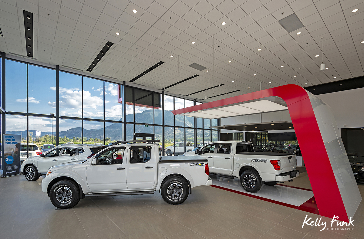 Penticton Nissan's showroom showcased during a commercial shoot for an Architectural firm in Kelowna, BC, Canada