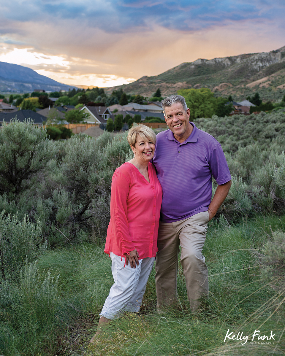 A couple poses for a magazine portrait near Kamloops, British Columbia, Canada