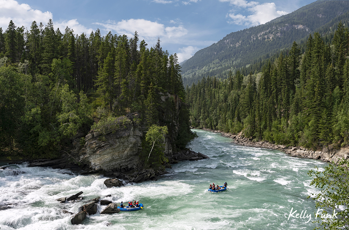 Rafters on the Fraser river during a tourism shoot for Valemount, British Columbia, Canada