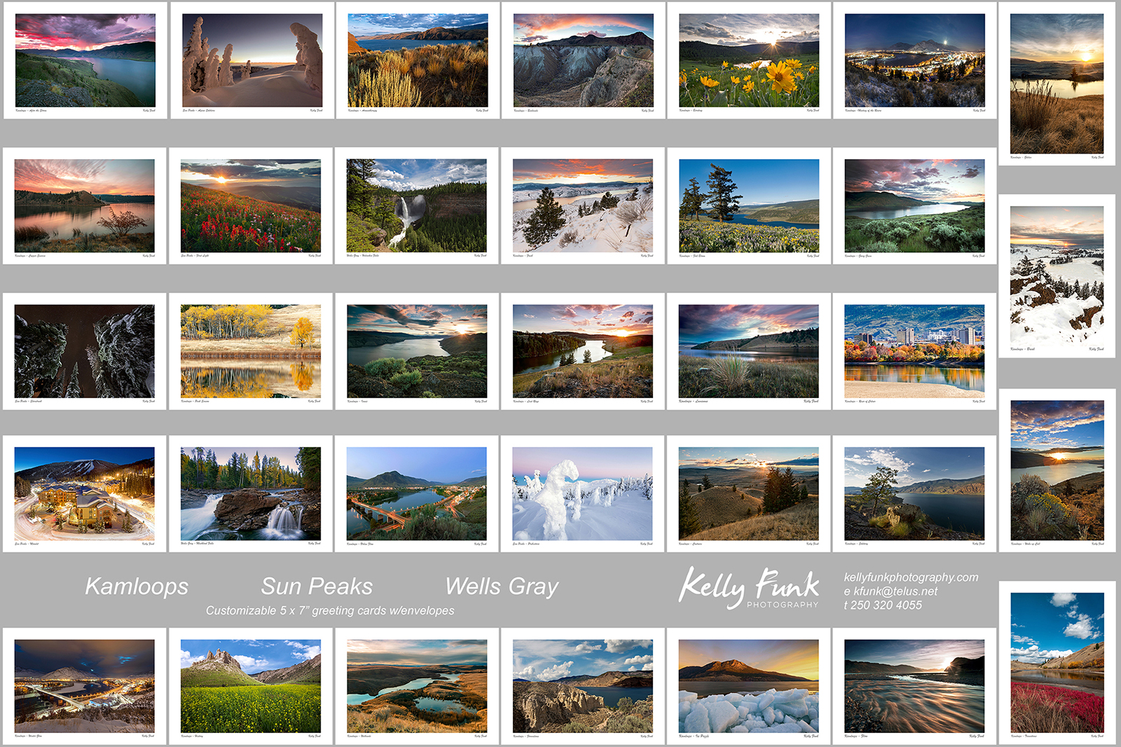 Full selection of Kamloops, Sun Peaks and Wells Gray personalized corporate greeting cards, British Columbia, Canada