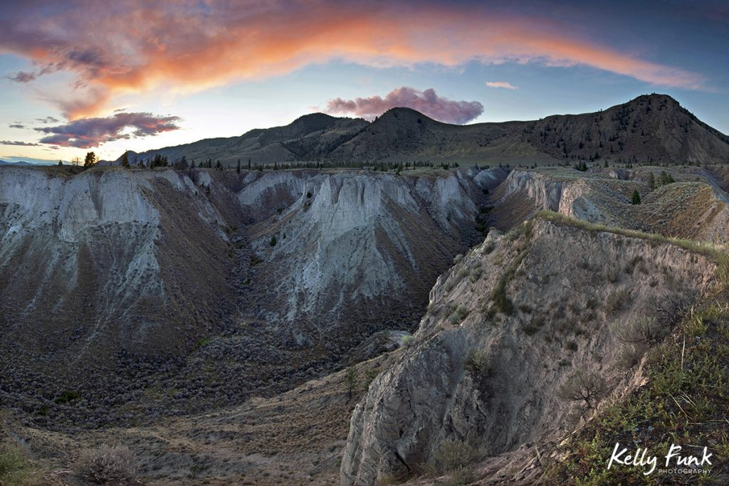 Canyon lands are photographed at sunset, just east of Kamloops, British Columbia, Canada