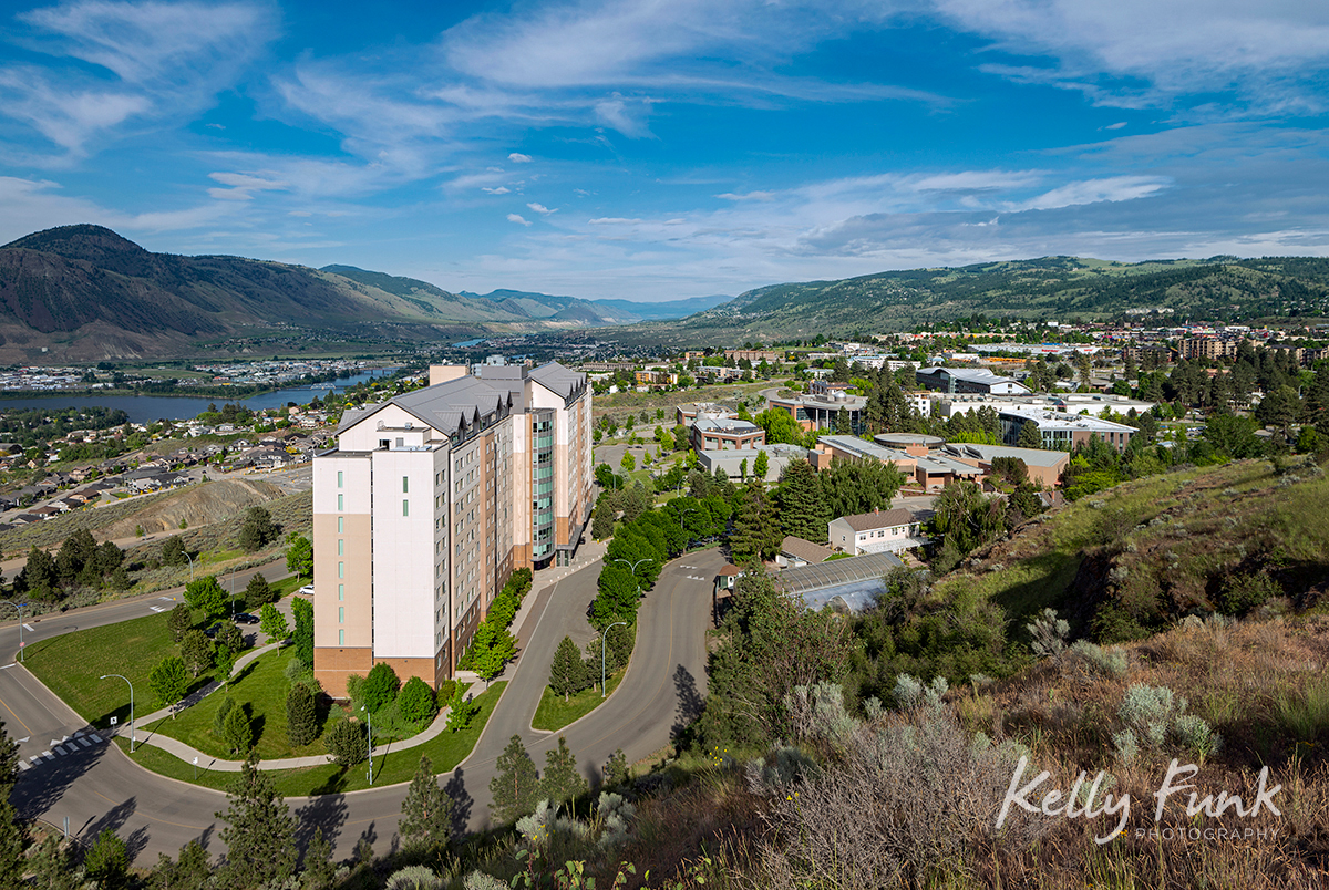 An overview of the TRU (Thompson Rivers University) campus and Kamloops, British Columbia, Canada