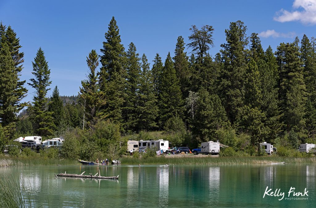 Summer camping and lake activity at Allyne lake, near Merritt, Thompson Nicola region, British Columbia, Canada