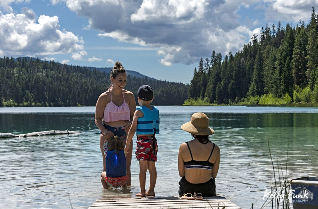 Summer family and lake activity at Kentucky lake, near Merritt, Thompson Nicola region, British Columbia, Canada