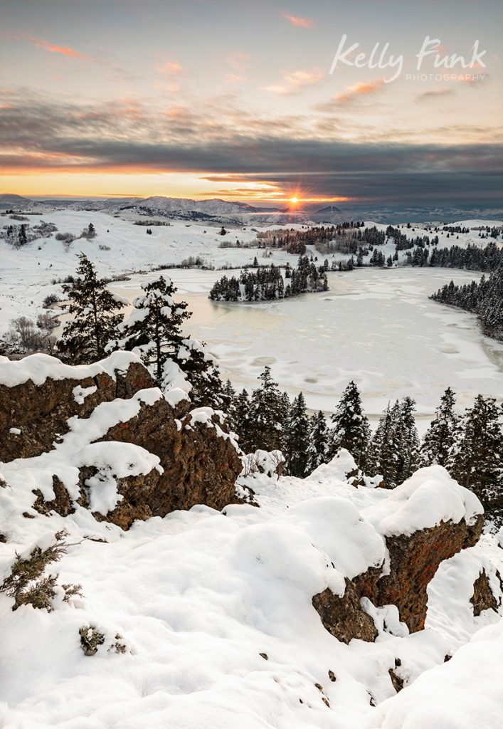 Winter sunrise over Lac du Bois near Kamloops, British Columbia, Canada