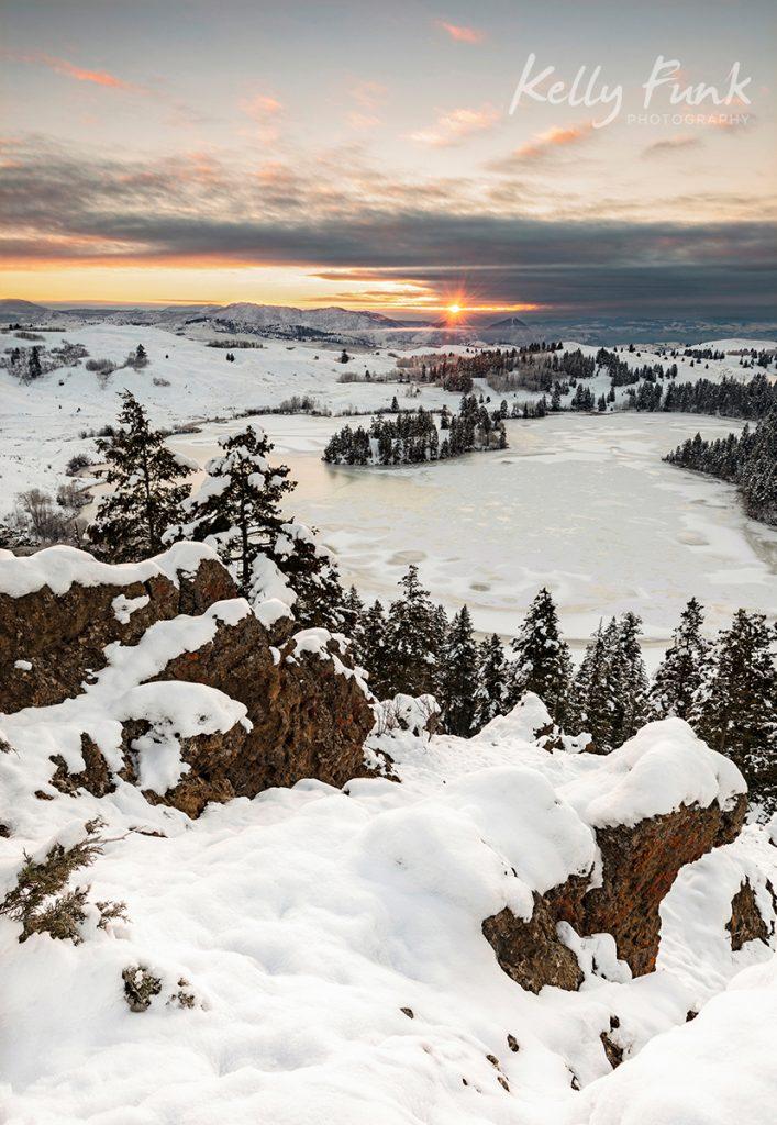 Winter sunrise over Lac du Bois near Kamloops, British Columbia, Canada