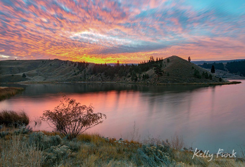 Sunrise over Trapp lake, south of kamloops, BC, Thompson okanagan region, Canada
