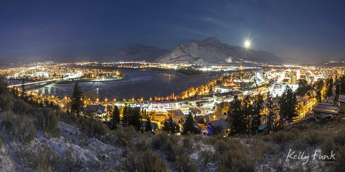 Kamloops, British Columbia, Canada during a full moon on a winter night for a commercial project