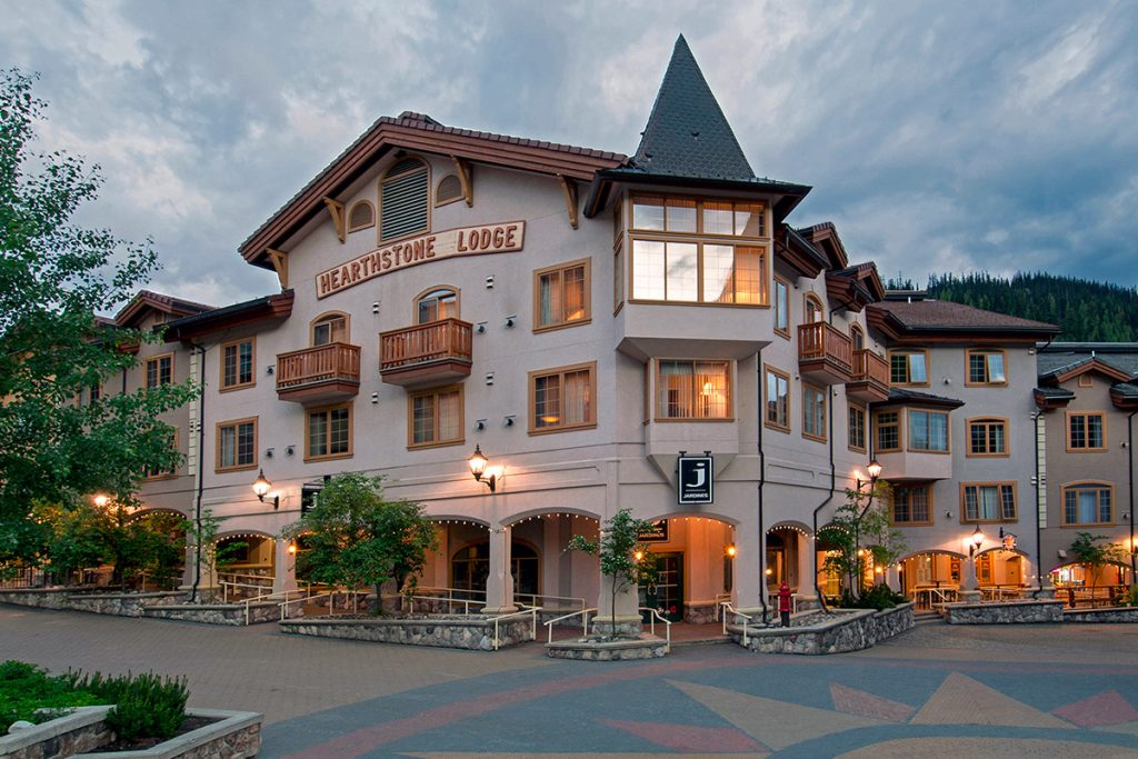 Hotel at dusk at Sun Peaks, British Columbia, Canada