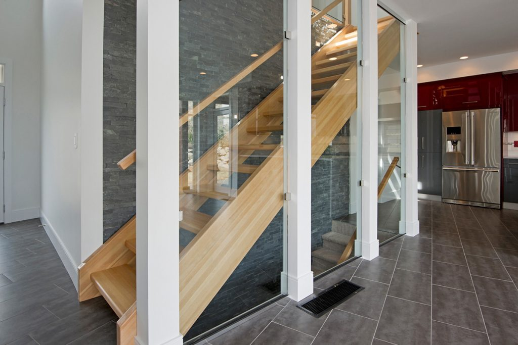 A beautiful staircase in a new residential development, Kamloops, British Columbia, Canada