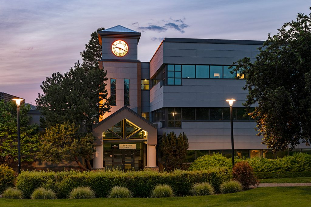 The clock tower building at Thompson Rivers University (TRU) at Kamloops, British Columbia, Canada during an architectural shoot.