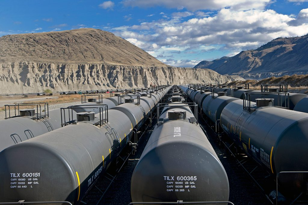 Storage train cars wait at the Ashcroft terminal, Ashcroft, British Columbia, Canada
