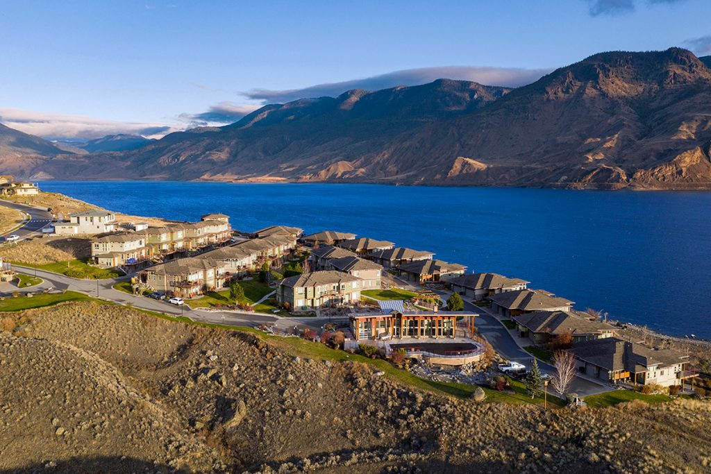 Drone of a residential development at Tobiano resort west of Kamloops, British Columbia, Canada at sunrise