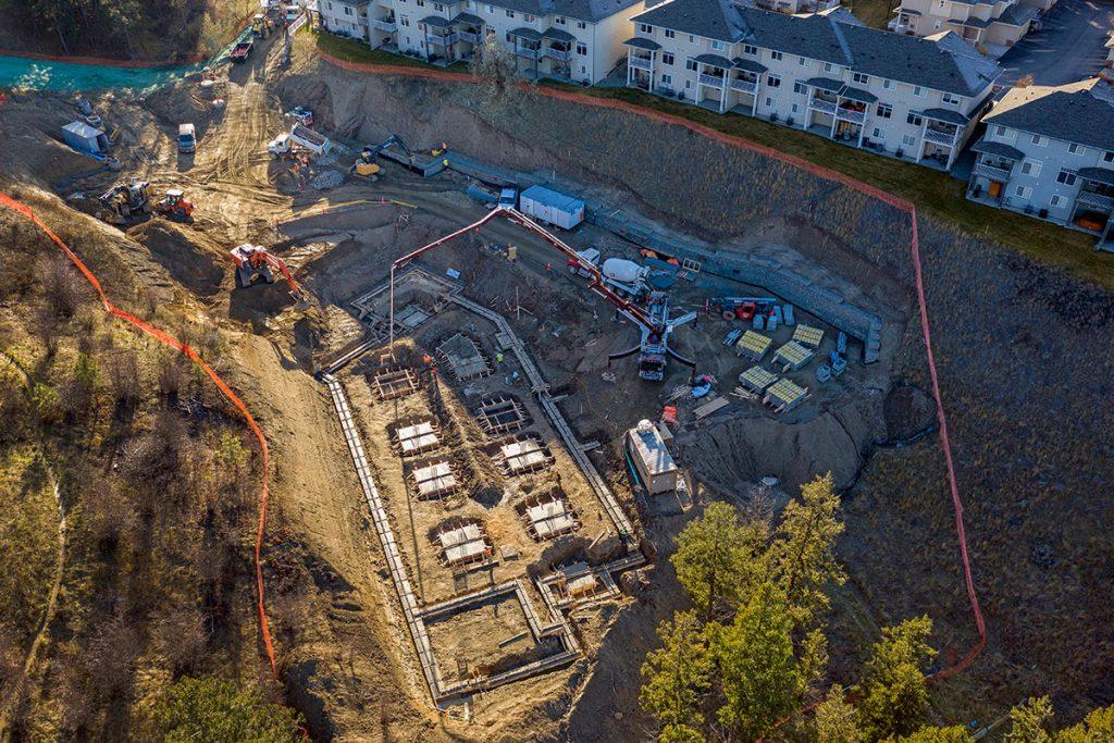 Drone of new construction status in upper Sahali, Kamloops, British Columbia, Canada