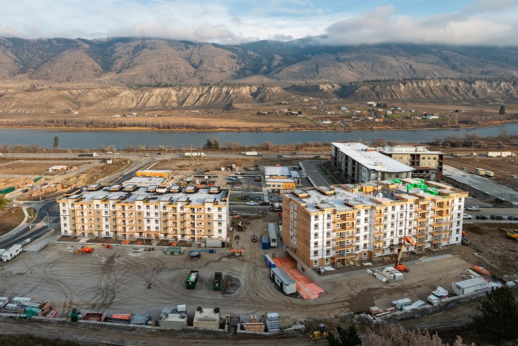 Drone of commercial and residential construction in Kamloops, British Columbia