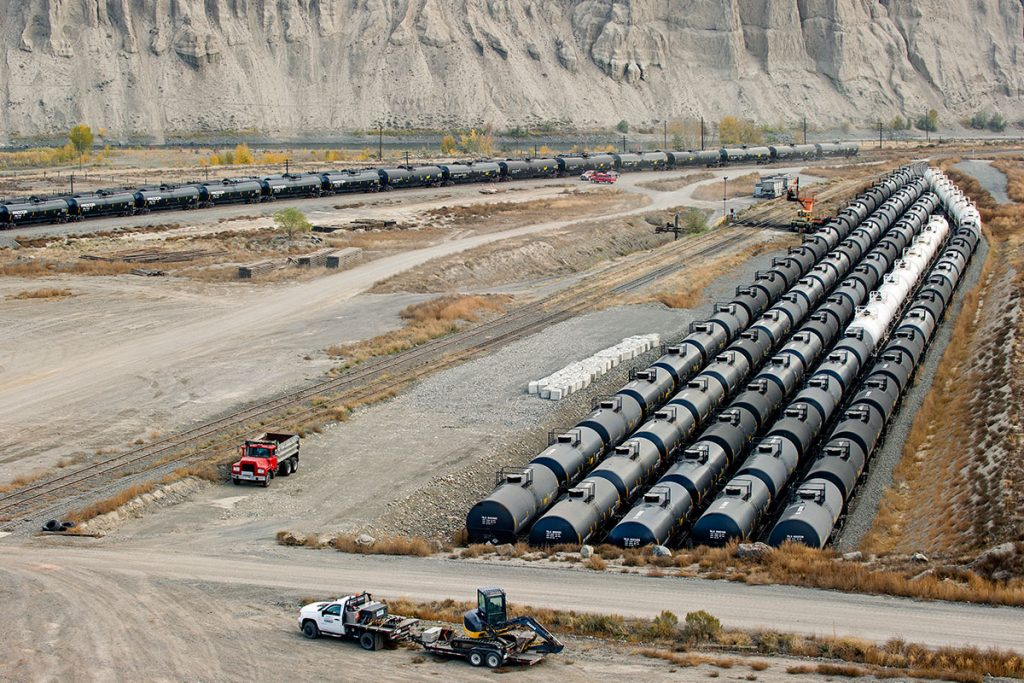 Rail storage cars at the Ashcroft terminal, British Columbia