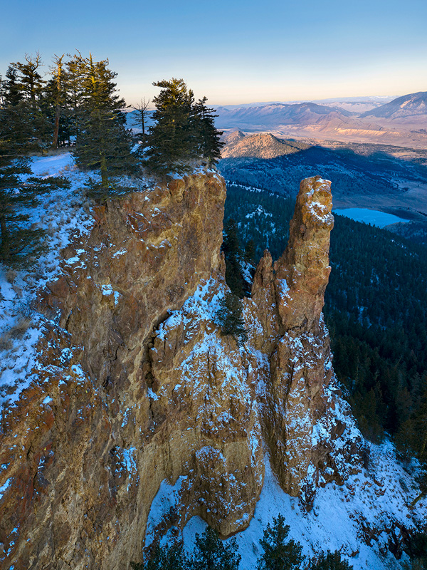 The Pinnacle, a geologic landscape feature east of Kamloops with the drone, British Columbia, Canada