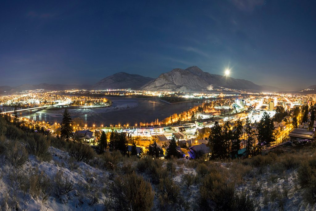 Cityscape of Kamloops at night with city lights, British Columbia, Thompson Okanagan region, Canada